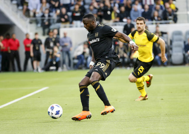 "LAFC forward <a class=""link rapid-noclick-resp"" href=""/soccer/players/438680/"" data-ylk=""slk:Adama Diomande"">Adama Diomande</a> claims he was subject to racial abuse by an opposing player during their 3-2 win over the Portland Timbers on Wednesday night in Los Angeles. (AP Photo/Ringo H.W. Chiu)"
