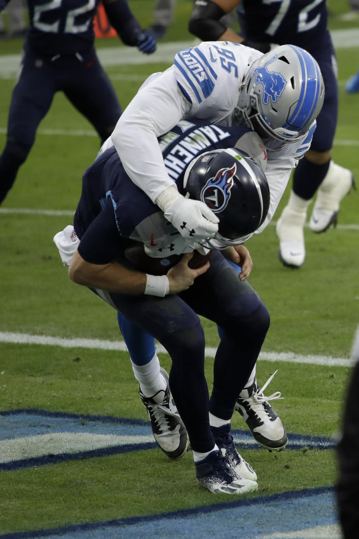 Detroit Lions defensive end Romeo Okwara sacks Tennessee Titans quarterback Ryan Tannehill for a safety during the first half of an NFL football game Sunday, Dec. 20, 2020, in Nashville, N.C. (AP Photo/Ben Margot)