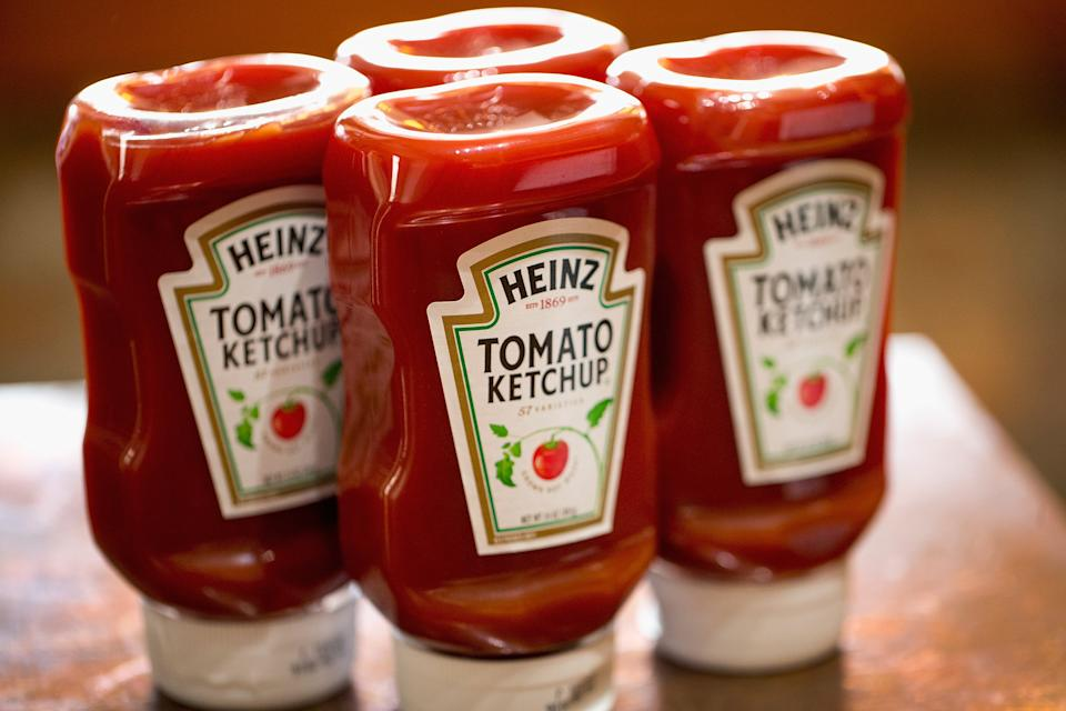 CHICAGO, IL - MARCH 25: In this photo illustration, Heinz Tomato Ketchup is shown on March 25, 2015 in Chicago, Illinois. Kraft Foods Group Inc. said it will merge with H.J. Heinz Co. to form the third largest food and beverage company in North America with revenue of about $28 billion.  (Photo Illustration by Scott Olson/Getty Images)