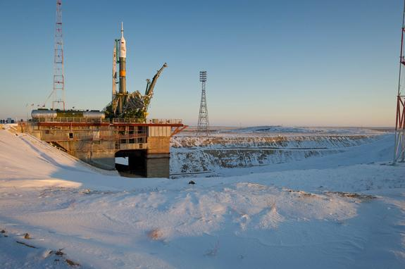 The Soyuz TMA-03M spacecraft stands on the launch pad at the Baikonur Cosmodrome in Kazakhstan. The vehicle is slated to carry three new crewmembers to the International Space Station on Wednesday (Dec. 21).