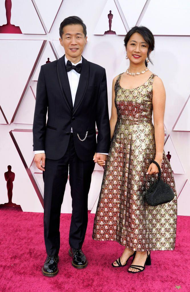 <p>The Minari director was joined by his wife Valerie on the red carpet. </p>