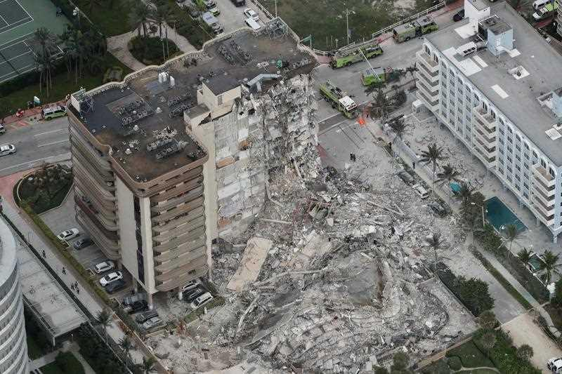 This aerial photo shows part of the 12-storey oceanfront Champlain Towers South Condo that collapsed.