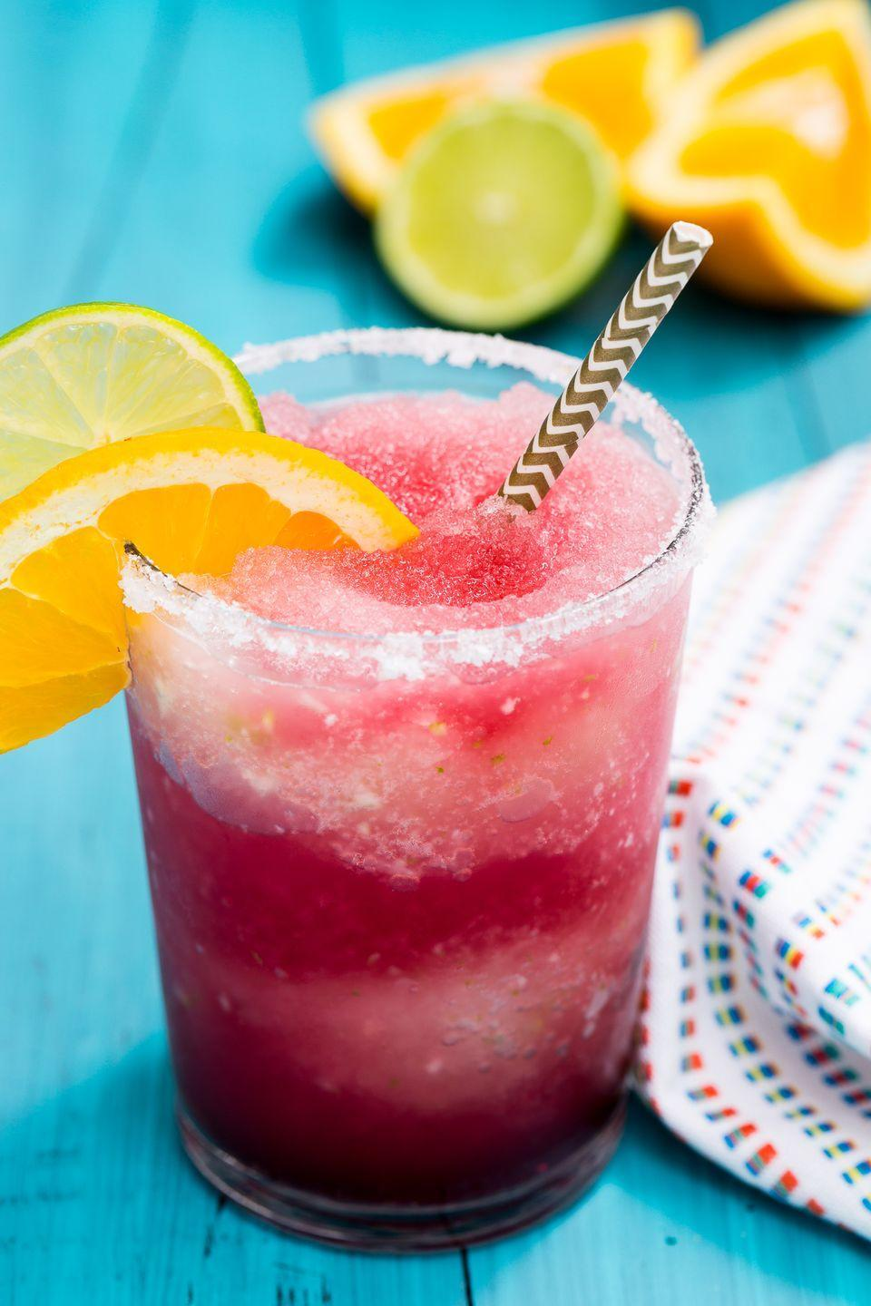 """<p>This boozy slushie is a must for your next girls night. </p><p>Get the recipe from <a href=""""https://www.delish.com/cooking/recipe-ideas/recipes/a47215/frozen-sangria-margarita-recipe/"""" rel=""""nofollow noopener"""" target=""""_blank"""" data-ylk=""""slk:Delish"""" class=""""link rapid-noclick-resp"""">Delish</a>.</p>"""