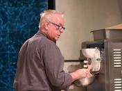 """<p>It's <em>always </em>a hot commodity amongst contestants. """"If it were up to me and the judges, we'd have 20 ice cream machines and make it easier on our contestants,"""" Ted Allen told the <a href=""""https://www.foodnetwork.com/fn-dish/shows/2016/05/secrets-behind-the-chopping-block-host-ted-allen-answers"""" rel=""""nofollow noopener"""" target=""""_blank"""" data-ylk=""""slk:Food Network's blog"""" class=""""link rapid-noclick-resp"""">Food Network's blog</a>. """"Here's the dirty little secret: Producers of competition shows don't want to make it easy for contestants, so they enjoy it when people fight over the ice cream machine. But the fact is, it is totally possible for two batches of ice cream to get made within a 30-minute round, and when that happens, it's exciting for us.""""</p>"""