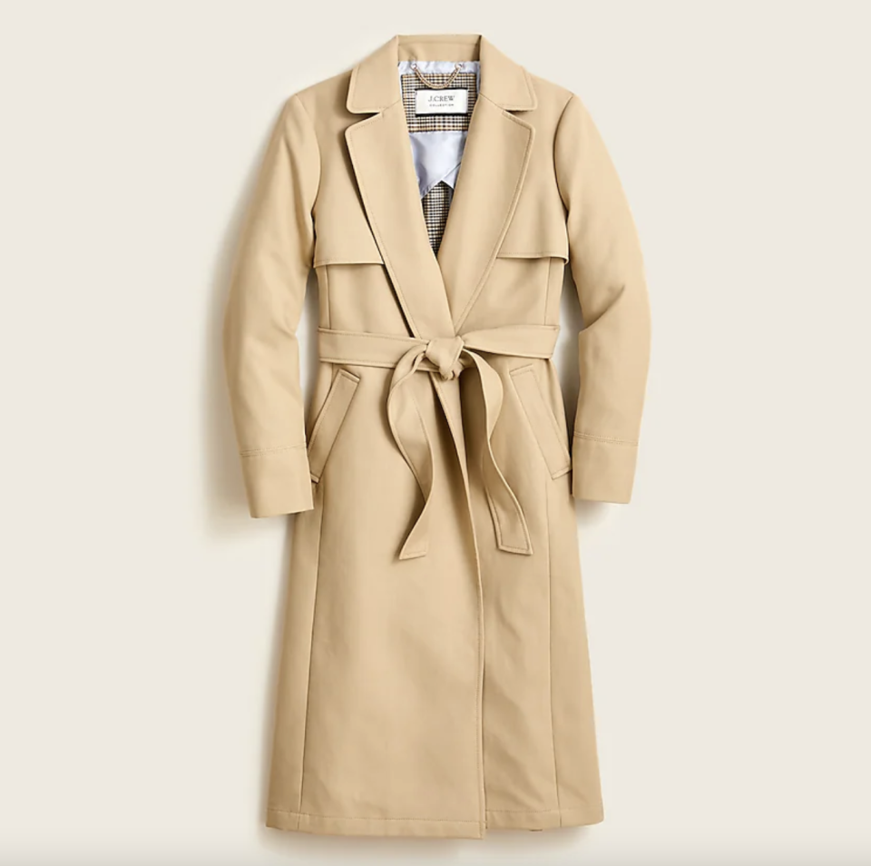 beige flat lay belted J.Crew Collection Tailored Trench Coat