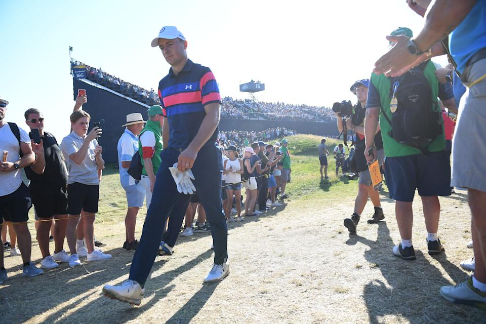 US golfer Jordan Spieth arrives on the 17th tee during his final round on day 4 of The 149th British Open Golf Championship at Royal St George's, Sandwich in south-east England on July 18, 2021. - - RESTRICTED TO EDITORIAL USE (Photo by ANDY BUCHANAN / AFP) / RESTRICTED TO EDITORIAL USE (Photo by ANDY BUCHANAN/AFP via Getty Images)