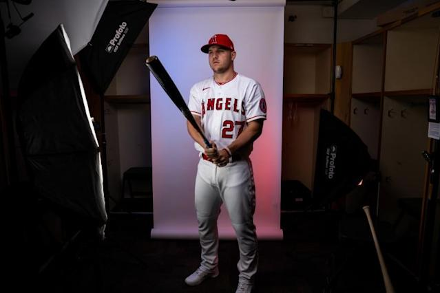 """Angels outfielder Mike Trout poses for a portrait during photo day at Tempe Diablo Stadium on Feb. 18. <span class=""""copyright"""">(Kent Nishimura / Los Angeles Times)</span>"""