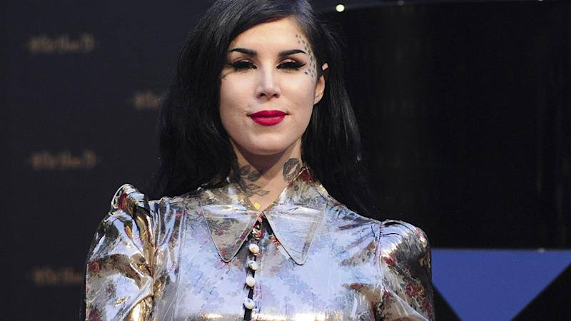Kat Von D Got a Seriously Large Black-Out Arm Tattoo