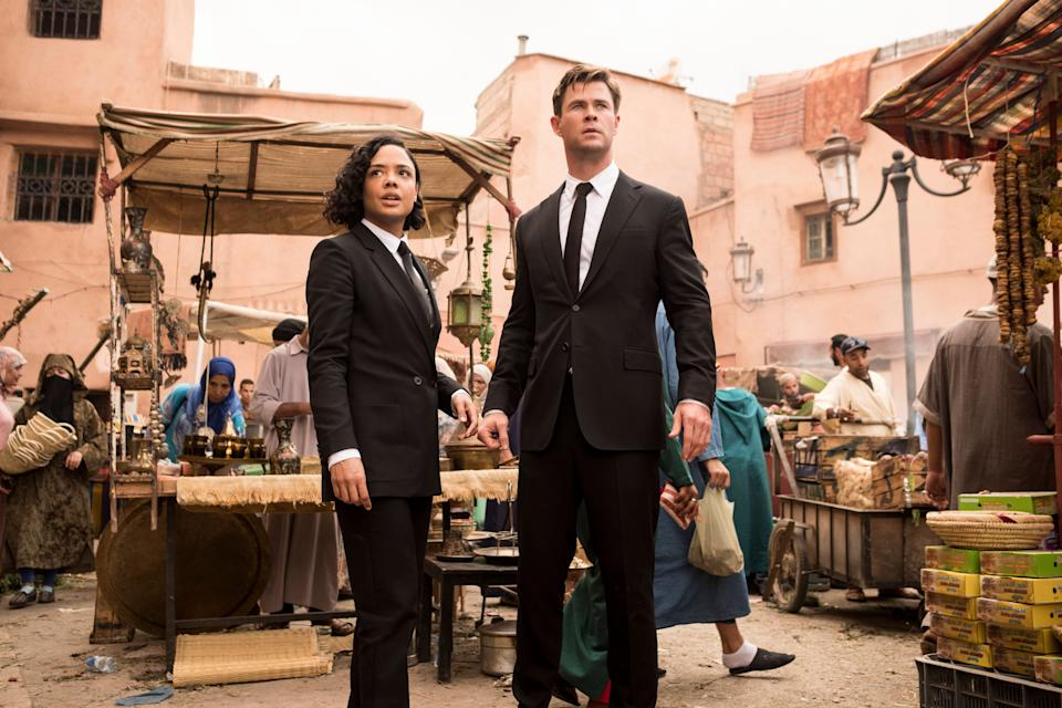 Agent M (Tessa Thompson) and Agent H (Chris Hemsworth) in Morocco in Columbia Pictures' MEN IN BLACK: INTERNATIONAL. (Sony Pictures)