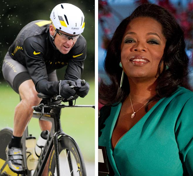 """FILE - This combination image made of file photos shows Lance Armstrong, left, on Oct. 7, 2012, and Oprah Winfrey, right, on March 9, 2012. After more than a decade of denying that he doped to win the Tour de France seven times, Armstrong was scheduled to sit down Monday, Jan. 14, 2013 for what has been trumpeted as a """"no-holds barred,"""" 90-minute, question-and-answer session with Winfrey. (AP Photos/File)"""
