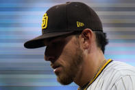 San Diego Padres starting pitcher Joe Musgrove warms up before a baseball game against the Milwaukee Brewers, Monday, April 19, 2021, in San Diego. (AP Photo/Gregory Bull)
