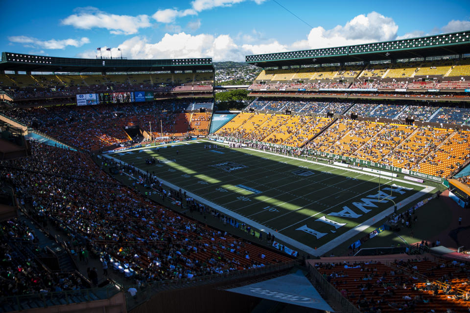 HONOLULU, HI - SEPTEMBER 06:  A general view of Aloha Stadium during the first quarter of a college football game between the Oregon State Beavers and the Hawaii Warriors at Aloha Stadium on September 06, 2014 in Honolulu, Hawaii.  The Oregon State Beavers defeated the Hawaii Warriors 38-30.  (Photo by Kent Nishimura/Getty Images)
