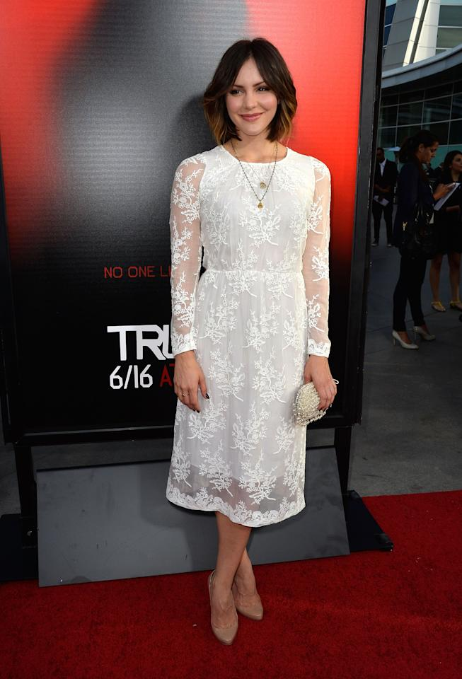 HOLLYWOOD, CA - JUNE 11:  Actress Katharine McPhee attends the premiere of HBO's 'True Blood' Season 6 at ArcLight Cinemas Cinerama Dome on June 11, 2013 in Hollywood, California.  (Photo by Frazer Harrison/Getty Images)
