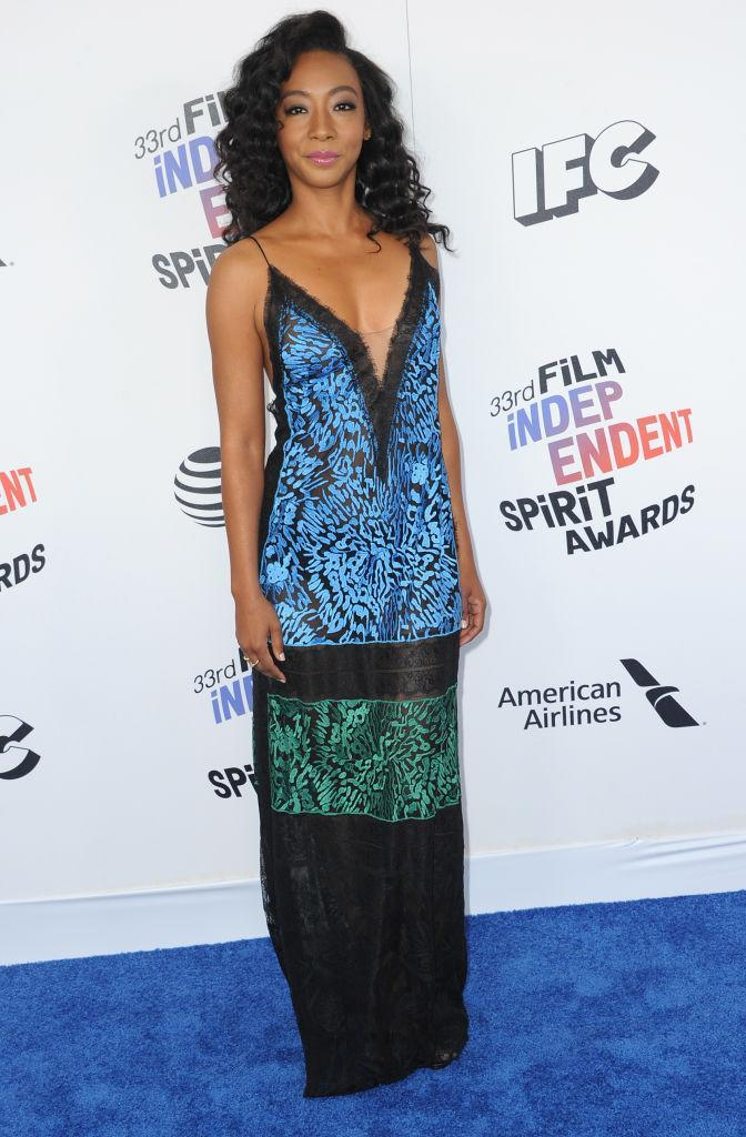<p>A far cry from her <em>Get Out</em> character, the actor stunned in a deep-V print gown. (Photo: Getty Images) </p>