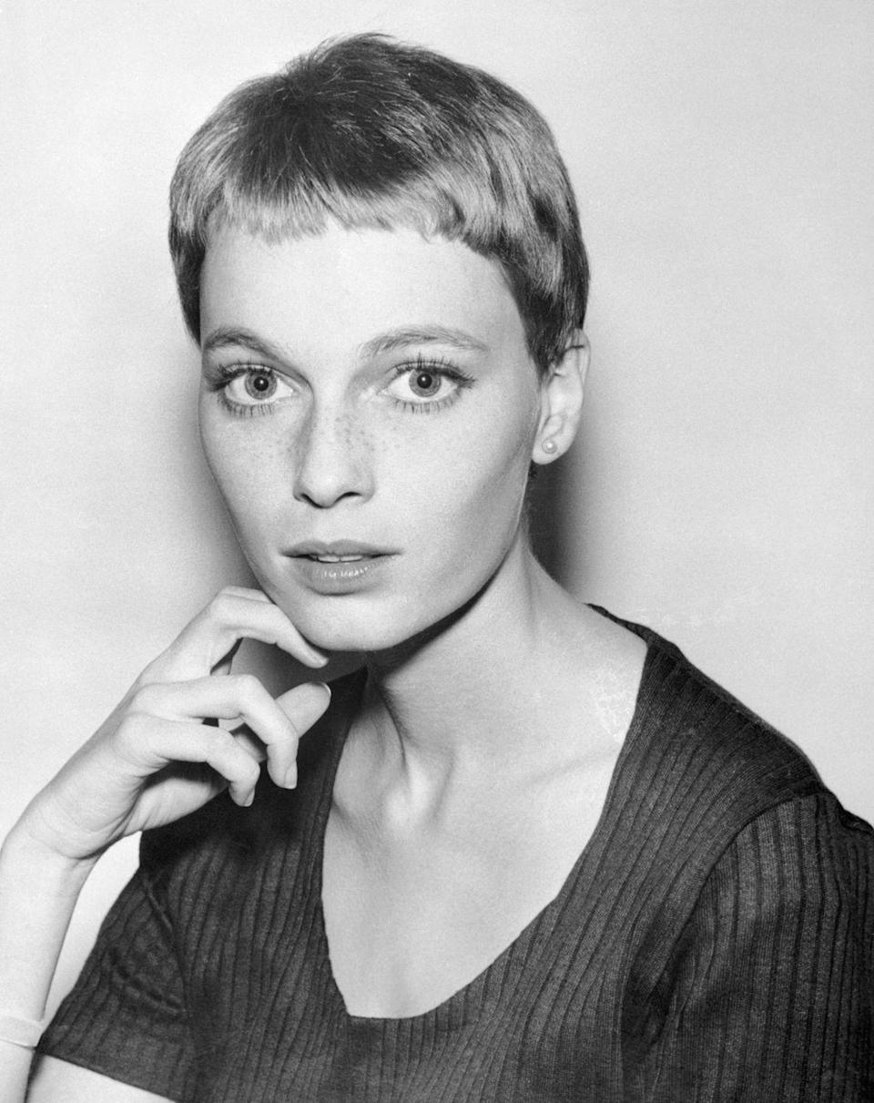 <p>In 1965, Farrow chopped her hair into a short pixie cut, which was styled by French hairstylist Vidal Sassoon. The actress, who was still in <em>Peyton Place</em>'s at the time, had her new haircut written into the script of the show. </p>