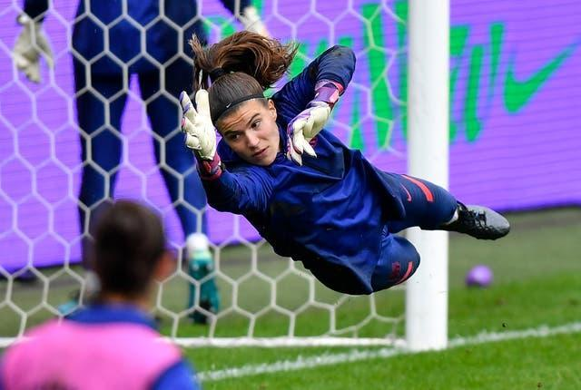 Barcelona's goalkeeper Gemma Font exercises during a training session ahead of the Women's Champions League final in Gothenburg