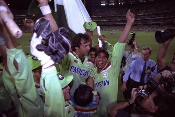 1992:  Imran Khan (left) and Inzamam ul-Haq of Pakistan celebrate after they beat England in the final of the Cricket World Cup in Melbourne, Australia.