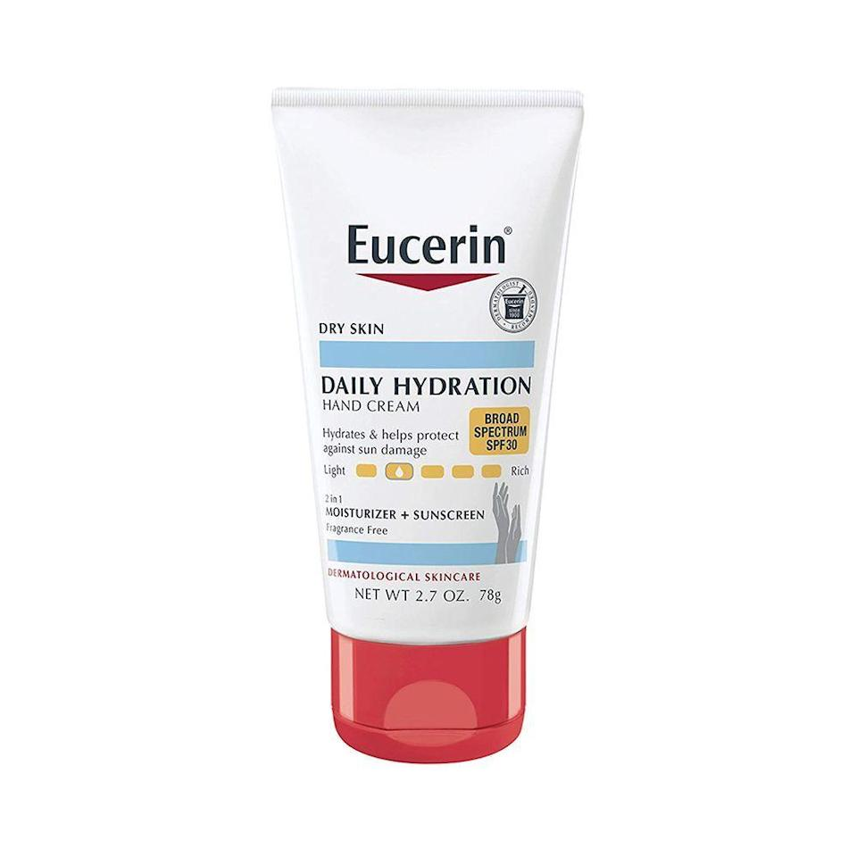 """<p><strong>Eucerin</strong></p><p>amazon.com</p><p><strong>$15.90</strong></p><p><a href=""""https://www.amazon.com/dp/B01KJGUU7W?tag=syn-yahoo-20&ascsubtag=%5Bartid%7C10051.g.36432194%5Bsrc%7Cyahoo-us"""" rel=""""nofollow noopener"""" target=""""_blank"""" data-ylk=""""slk:Shop Now"""" class=""""link rapid-noclick-resp"""">Shop Now</a></p><p>Dr. Farhang reaches for this affordable, hydrating hand cream, saying she usually opts for an SPF of over 30. She also likes how convenient its small size is.</p>"""