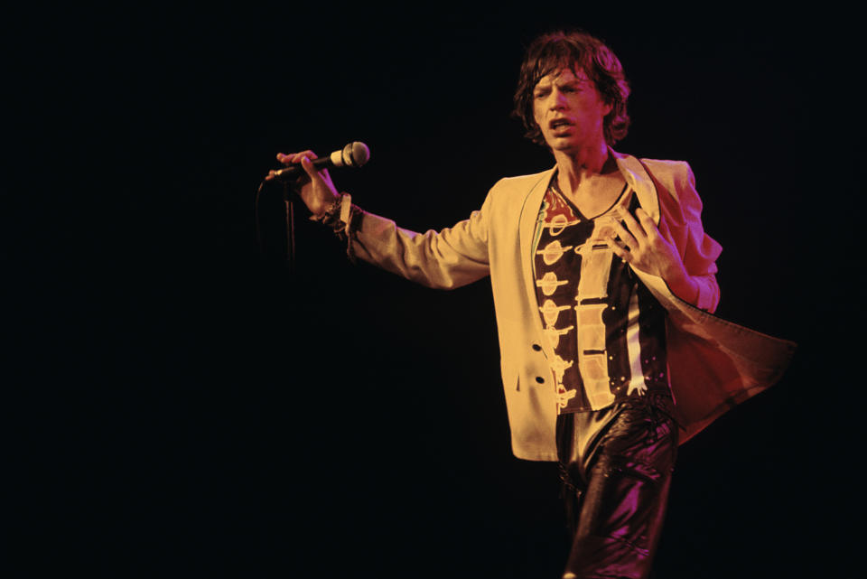ATLANTA - JUNE 12: Singer-frontman Mick Jagger of The Rolling Stones performs at the Fabulous Fox Theater on June 12, 1978 in Atlanta, Georgia. (Photo by Tom Hill/WireImage)