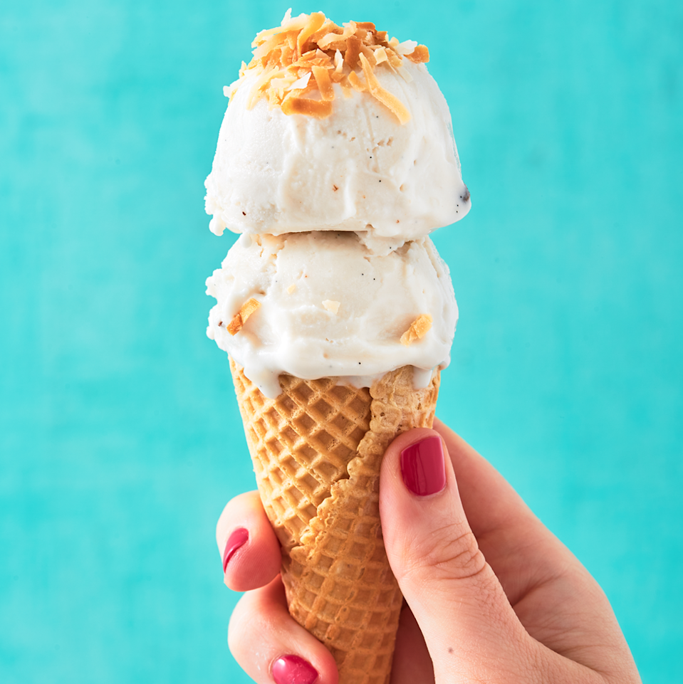 """<p>If you've got some time on your hands and want to make a delightful topping for those vegan brownies and pies, this coconut ice cream is to die for. But again, this isn't a quick fix; it takes more than five hours to make. So definitely make plans to prep it the night before the big day.</p><p><em><a href=""""https://www.delish.com/cooking/recipe-ideas/a27971982/coconut-ice-cream-recipe/"""" rel=""""nofollow noopener"""" target=""""_blank"""" data-ylk=""""slk:Get the recipe from Delish »"""" class=""""link rapid-noclick-resp"""">Get the recipe from Delish »</a></em></p>"""