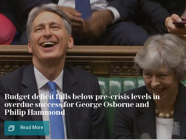 Budget deficit falls below pre-crisis levels in overdue success for George Osborne and Philip Hammond