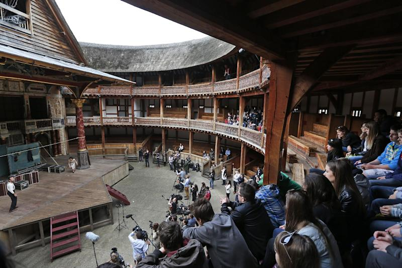 "Actors perform a scene from William Shakespeare's Hamlet for members of the media and a small audience during a photo call to present Hamlet at Shakespeare's Globe theatre, London, Wednesday, April 23, 2014. Four centuries after his death, William Shakespeare is probably Britain's best-known export, his words and characters famous around the world. Shakespeare's Globe theater is setting out to test the Bard's maxim that ""all the world's a stage"" by taking ""Hamlet"" to every country on Earth world, more than 200 in all. (AP Photo/Lefteris Pitarakis)"