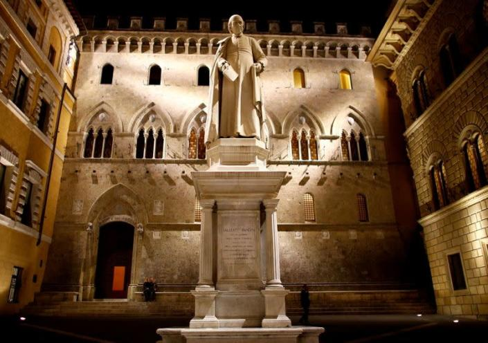 FILE PHOTO: FILE PHOTO: The entrance of Monte dei Paschi bank headquarters is seen in downtown Siena