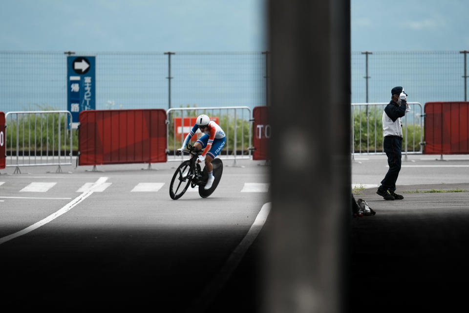 Juliette Labous of France competes during the women's cycling individual time trial at the 2020 Summer Olympics, Wednesday, July 28, 2021, in Oyama, Japan. (AP Photo/Thibault Camus)