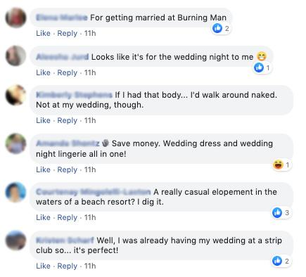 Wedding shamers blast ASOS' see-through bridal jumpsuit joking it's 'for the bedroom only'. Photo: Facebook/groups/thatsitimweddingshaming.
