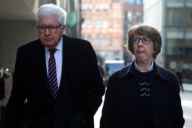 Former Conservative minister Nigel Waterson and Barbara Judge arrive at the Old Bailey, London, where their son Stephen Waterson, 25, and Adrian Hoare, 23, are on trial accused of Alfie Lamb's manslaughter.