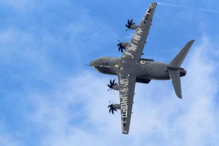 FILE PHOTO: An Airbus A400M military aircraft participates in a flying display during the 50th Paris Air Show