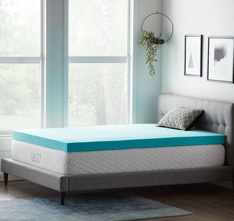 """If you're over tossing, turning and counting sheep, you could add thismattress topper to your nighttime routine. It's made withgel memory foam that's meant to be cooling and help with pressure points. Plus, it's top-rated with over 2,000 reviews. <a href=""""https://fave.co/2Tr85Qh"""" target=""""_blank"""" rel=""""noopener noreferrer"""">Originally $170, get it now for $120 at The Home Depot</a>."""