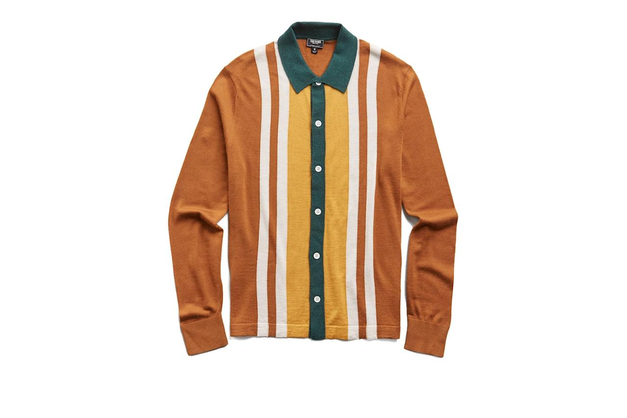 """$248, Todd Snyder. <a href=""""https://www.toddsnyder.com/collections/new-arrivals/products/ls-merino-vertical-stripe-polo-shirt-camel-1"""">Get it now!</a>"""