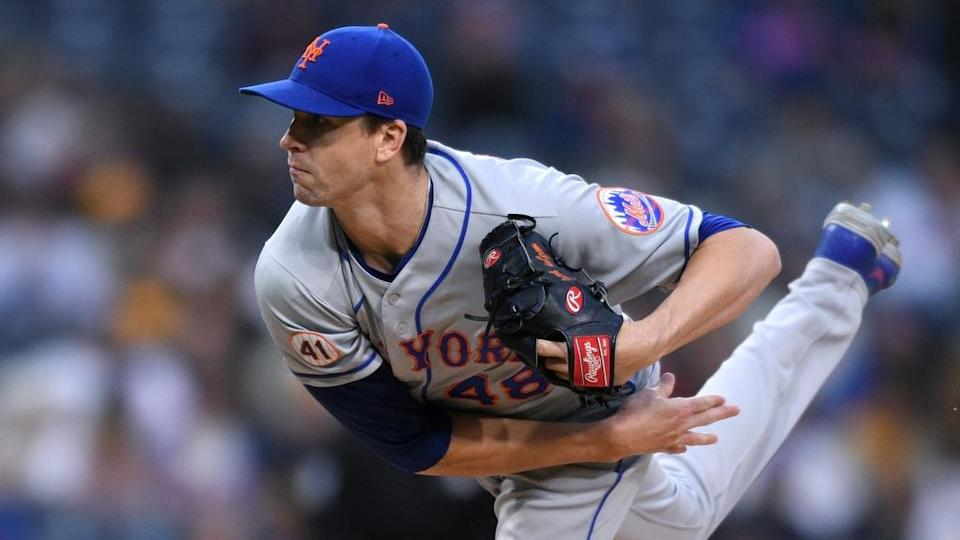 Jun 5, 2021; San Diego, California, USA; New York Mets starting pitcher Jacob deGrom (48) pitches against the San Diego Padres during the first inning at Petco Park.