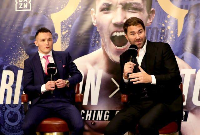 Warrington, left, reunited with promoter Eddie Hearn last year (Bradley Collyer/PA)