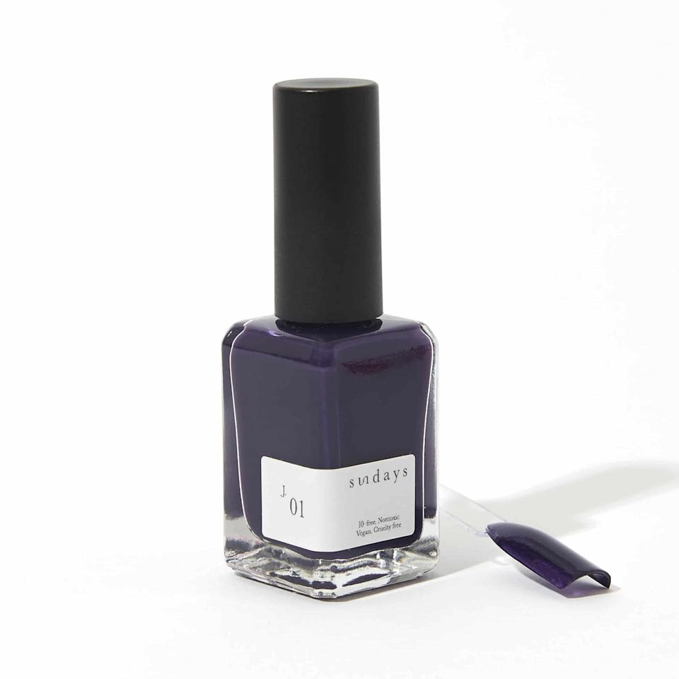 Just like we won't try to talk you out of white nail polish for summer, we're all for black polish, too. But if you'd like to switch it up a bit without leaving the dark side, try purple ink, which leans noticeably more blue than red. We love Sundays' shade J.01 for this look because it nails that glossy opacity that's so important for a powerful color like this.