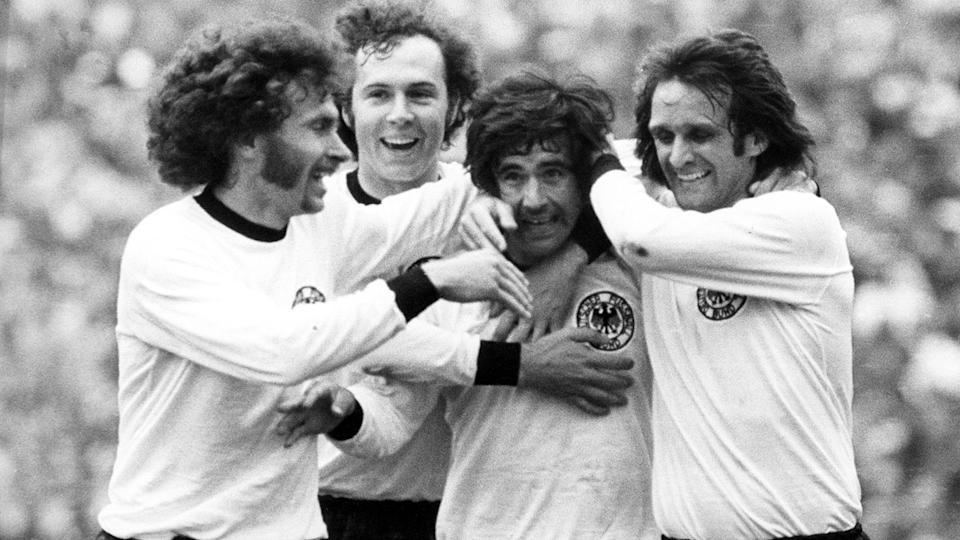 Pictured here, Gerd Muller celebrates with West Germany teammates at the 1974 World Cup.