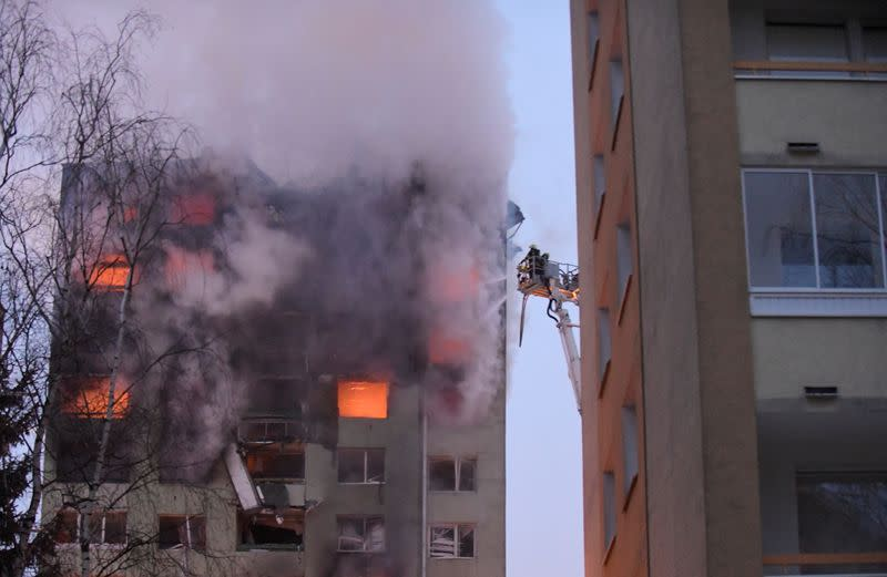 Apartment building damaged by a gas explosion is seen in Presov