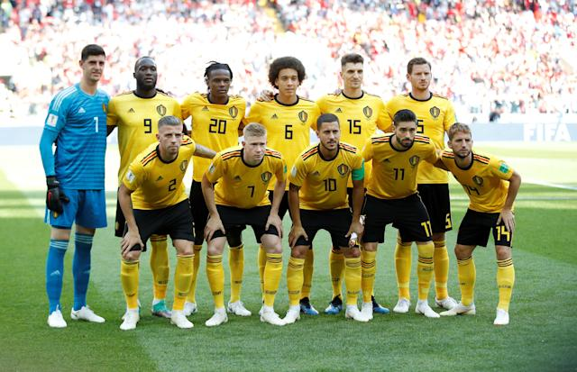 Soccer Football - World Cup - Group G - Belgium vs Tunisia - Spartak Stadium, Moscow, Russia - June 23, 2018 Belgium players pose for a team group photo before the match REUTERS/Carl Recine