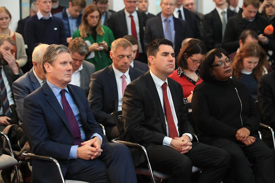 (left to right) Keir Starmer, Richard Burgon and Dianne Abbott listen as Labour leader Jeremy Corbyn makes a speech about Brexit during a visit to OE Electrics in Wakefield. (Photo by Danny Lawson/PA Images via Getty Images)