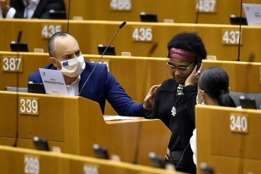 German MEP Pierrette Herzberger-Fofana (C) is pictured during the plenary session on racism at the European Parliament in Brussels on June 17