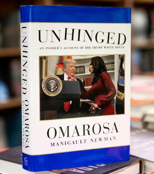 """Unhinged,"" the new tell-all book by former White House aide Omarosa Manigault Newman, is on sale now, as seen at the Politics and Prose bookstore in Washington"