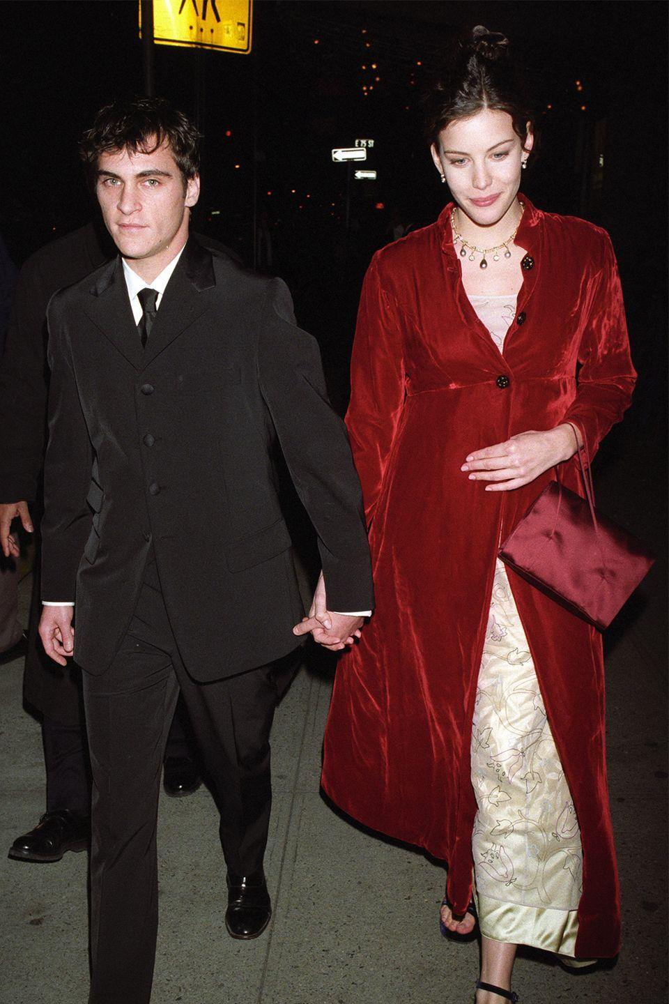 """<p>Liv Tyler and Joaquin Phoenix began dating when they were just 18 years old. Tyler told <em><a href=""""https://www.elle.com/culture/movies-tv/interviews/a31492/liv-tyler-the-leftovers/"""" rel=""""nofollow noopener"""" target=""""_blank"""" data-ylk=""""slk:Elle Magazine"""" class=""""link rapid-noclick-resp"""">Elle Magazine</a></em> that despite their breakup, they are still friends because he was such a big part of her life. </p><p>""""I'm friends with all my exes! I love them so much! I guess it depends on what happens, right? I consider Joaquin and all of his sisters to be like family. We were so young when we were together, like 18 to 21. He was my first love. So he's a huge part of even my sense of humor,"""" she said in the interview.<br></p>"""