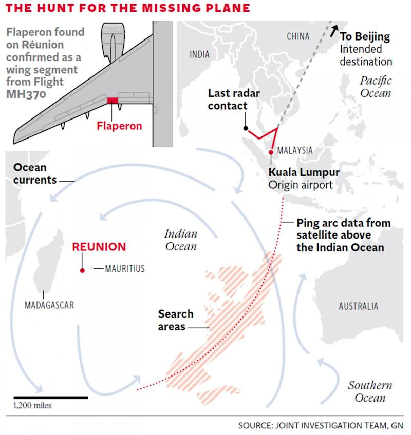 The search areas as they were before the official hunt for MH370 was suspended