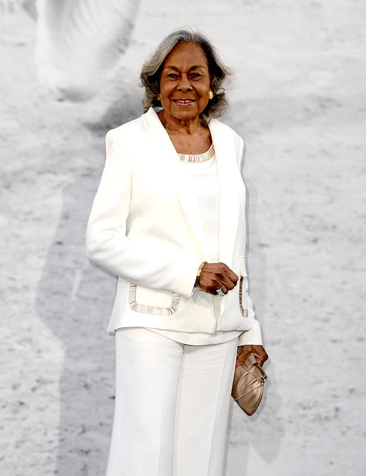 "LOS ANGELES, CA - APRIL 09:  Rachel Robinson, Jackie Robinson's widow arrives at the premiere of Warner Bros. Pictures' and Legendary Pictures' ""42"" at the Chinese Theatre on April 9, 2013 in Los Angeles, California.  (Photo by Kevin Winter/Getty Images)"