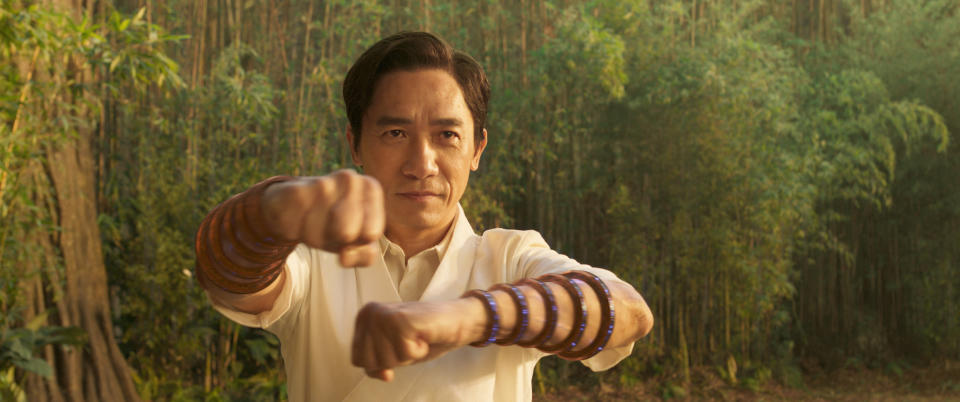 """This image released by Marvel Studios shows Tony Leung in a scene from """"Shang-Chi and the Legend of the Ten Rings."""" (Jasin Boland/Marvel Studios via AP)"""