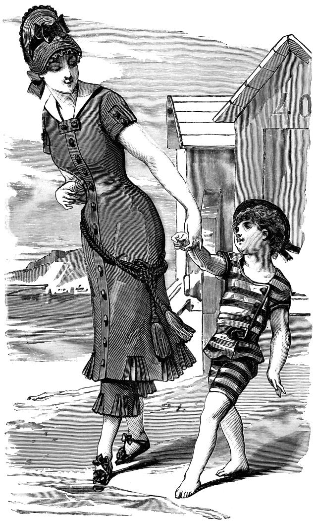 Vintage drawing of a woman and her child in swimsuits. (Getty Images)