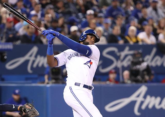 Socrates Brito still hasn't found any success at the plate with the Toronto Blue Jays. (Photo by Tom Szczerbowski/Getty Images)