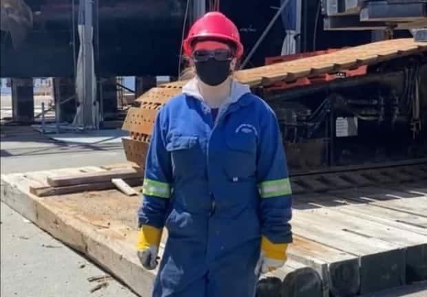 Victoria Henneberry is a Techsploration alumna, currently working at Shelburne Ship Repair as a pipefitter. (Victoria Henneberry - image credit)