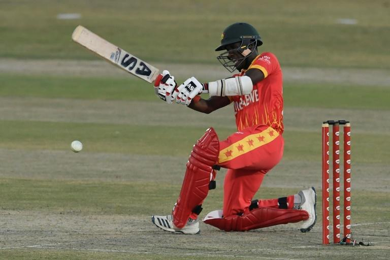 Zimbabwe's Wesley Madhevere plays a shot on his way to 70 not out off 48 balls against Pakistan the first Twenty20 match between at Rawalpindi Cricket Stadium